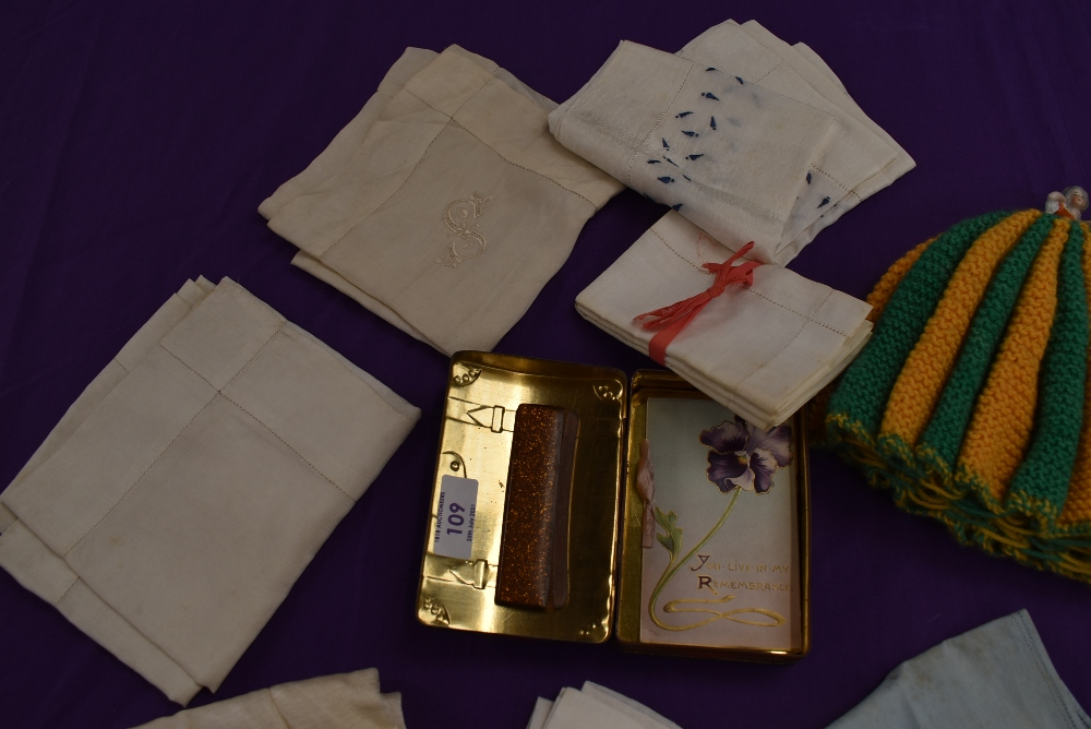 A mixed collection of ladies items and accessories including handkerchiefs, tea cosy with ceramic - Image 3 of 4