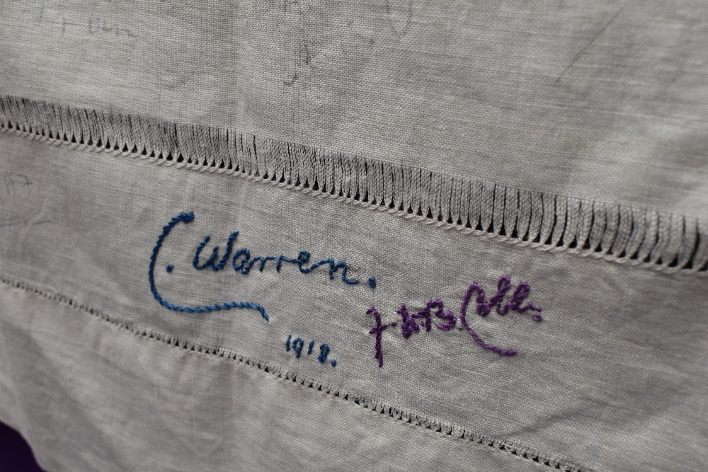 A wonderful piece of WW1 military history in the form of a table cloth, having embroidered and - Image 4 of 7