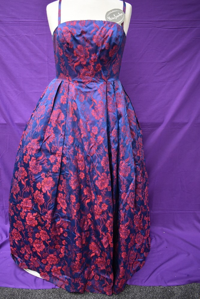 A 1950s Victor Josselyn gown in iridescent purple and red with hooped underskirt with box and