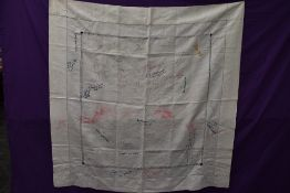 A wonderful piece of WW1 military history in the form of a table cloth, having embroidered and