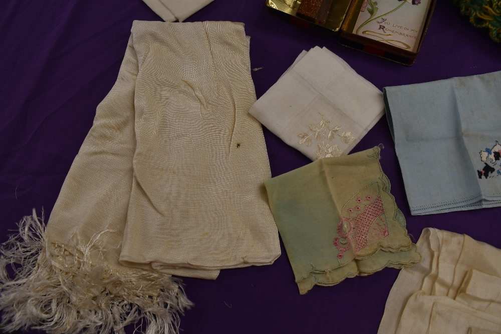 A mixed collection of ladies items and accessories including handkerchiefs, tea cosy with ceramic - Image 2 of 4
