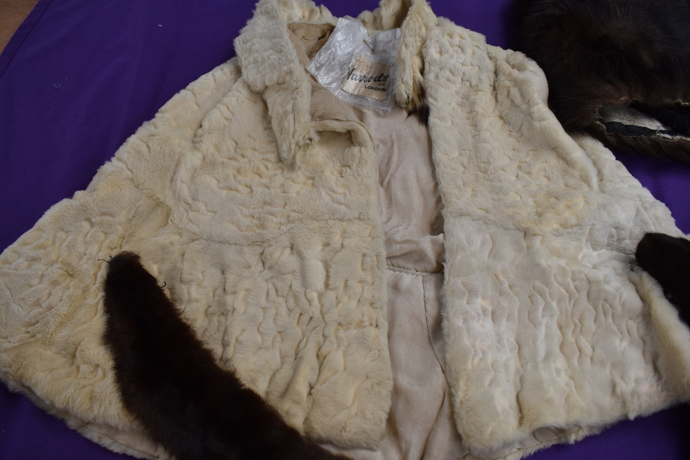 A box of vintage furs for make do and mend or repair including an ermine cape having Harrods label. - Image 2 of 4