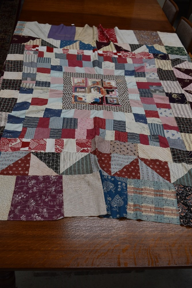 Two antique patch work quilts,both unfinished projects and are not padded or backed,brilliant bright - Image 2 of 9