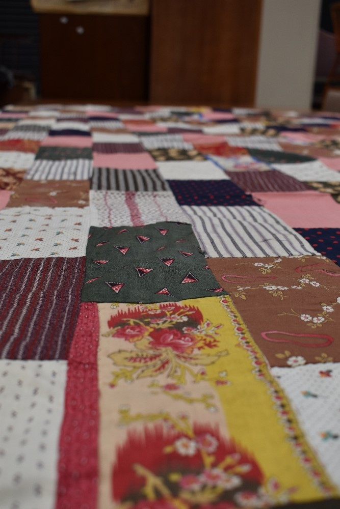Two antique patch work quilts,both unfinished projects and are not padded or backed,brilliant bright - Image 6 of 9