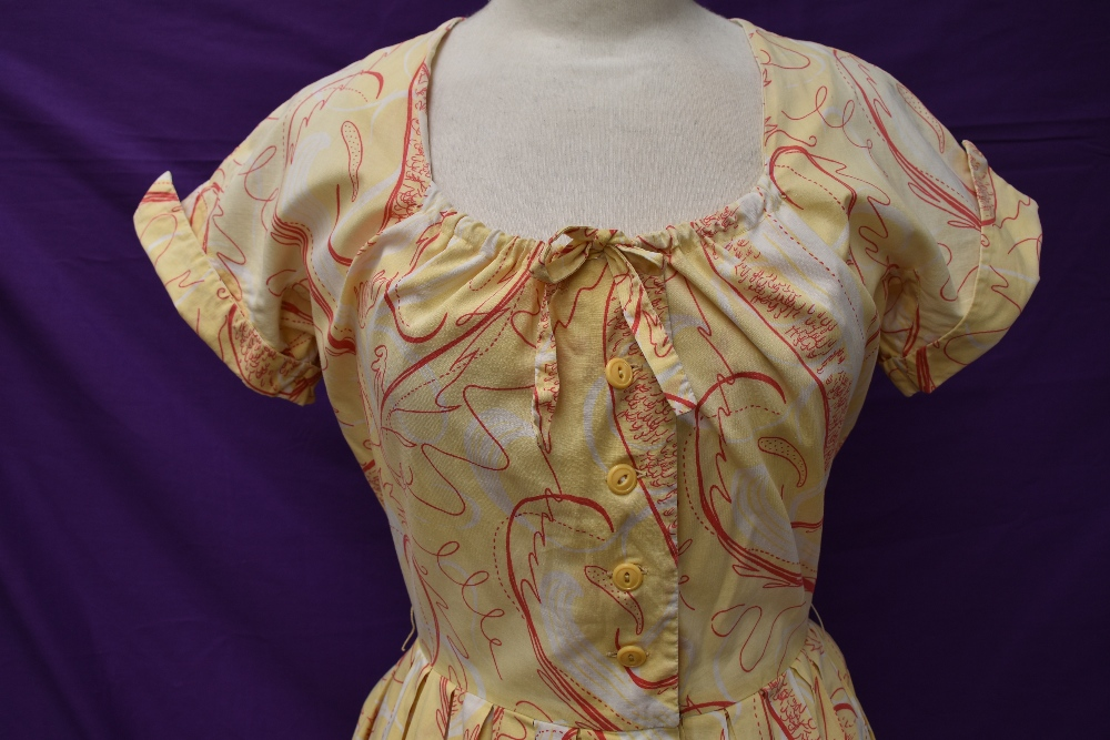 Two scarce and collectable late 1940s Horrockses cotton sun dresses in yellow, both having CC41 - Image 8 of 15