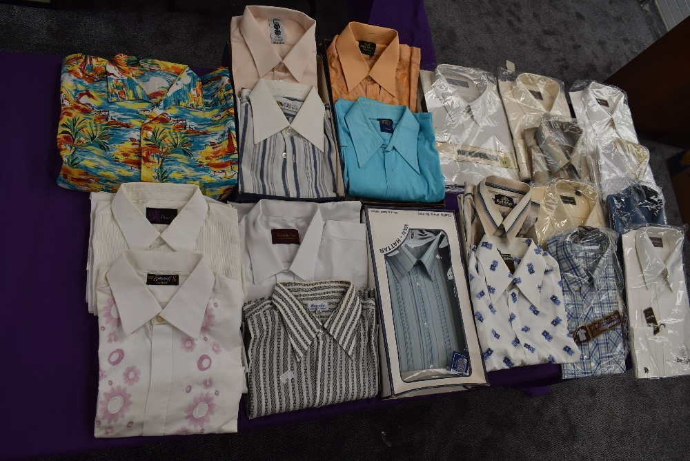 Twenty one gents vintage and retro shirts, a lot still in packaging, various styles and designs.