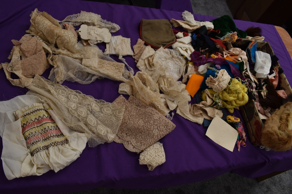 A box full of mixed vintage and antique bits and bobs,lace and tulle work, trims, thread,ribbon,