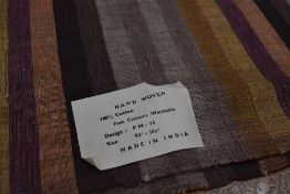 A hand woven cotton Indian shawl or similar having striped design in autumnal tones, approx 90 x