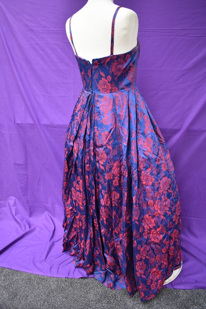 A 1950s Victor Josselyn gown in iridescent purple and red with hooped underskirt with box and - Image 3 of 4