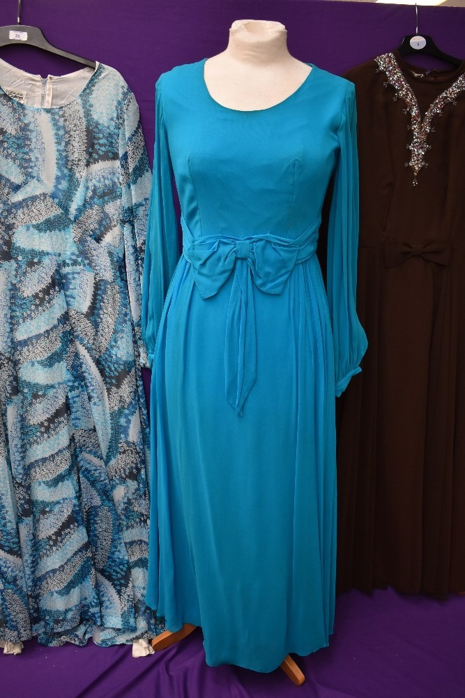 Three wonderfully floaty 1960s maxi dresses, including teal blue chiffon over laid Peterson maid - Image 2 of 4