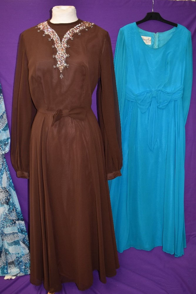 Three wonderfully floaty 1960s maxi dresses, including teal blue chiffon over laid Peterson maid - Image 3 of 4