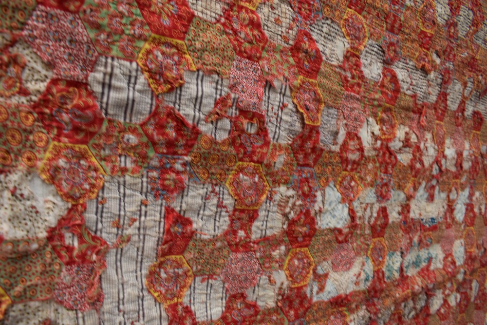 Two colourful antique patchwork quilts, both having damage. - Image 6 of 7