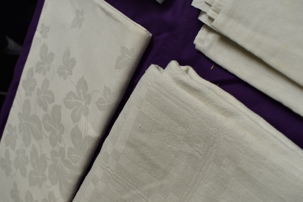 Six antique damask table cloths. - Image 2 of 6