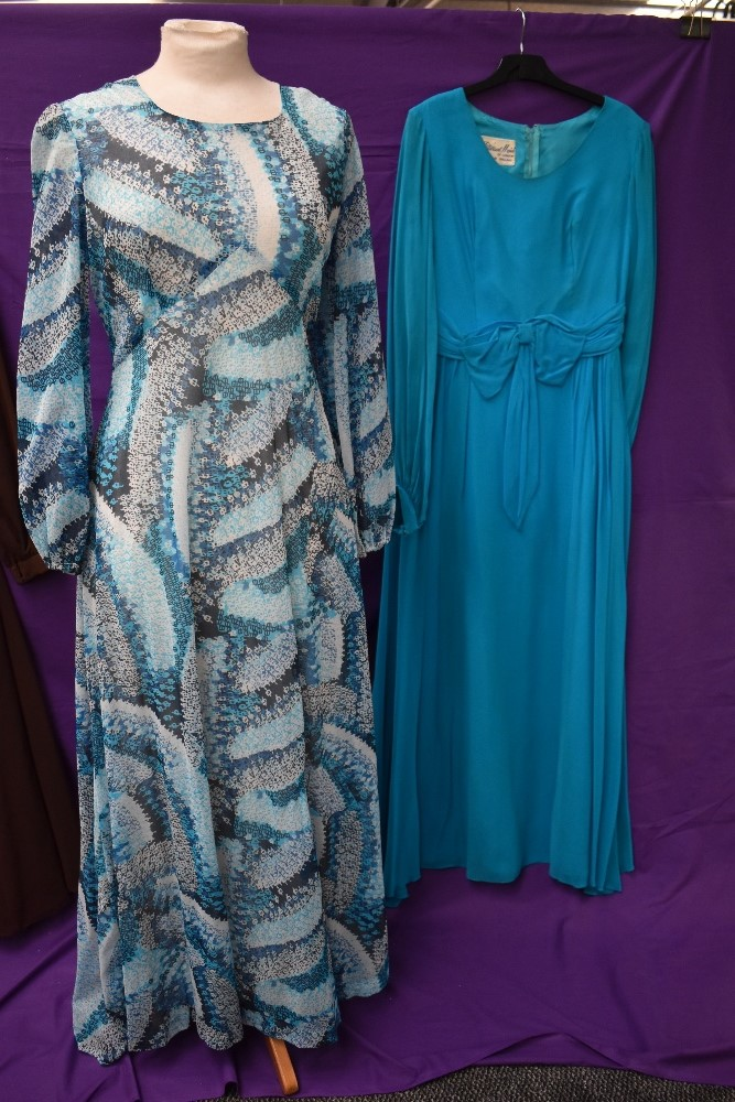 Three wonderfully floaty 1960s maxi dresses, including teal blue chiffon over laid Peterson maid - Image 4 of 4