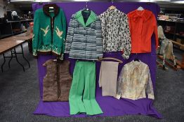 A selection of vintage ladies clothing including blouses, rabbit fur waistcoat,chunky green