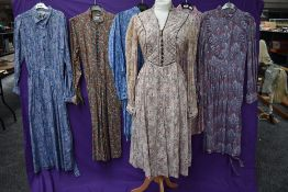 A selection of vintage and retro Ladies Liberty of London dresses and skirt suits,in a variety of
