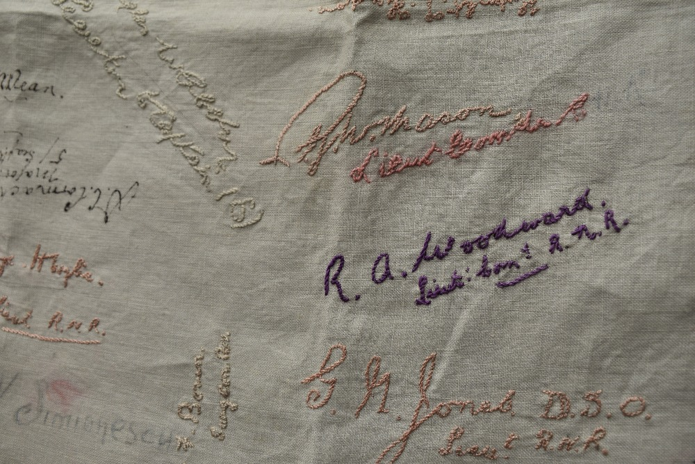 A wonderful piece of WW1 military history in the form of a table cloth, having embroidered and - Image 2 of 7