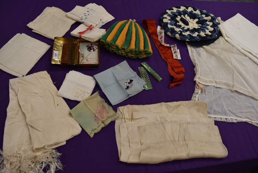 A mixed collection of ladies items and accessories including handkerchiefs, tea cosy with ceramic