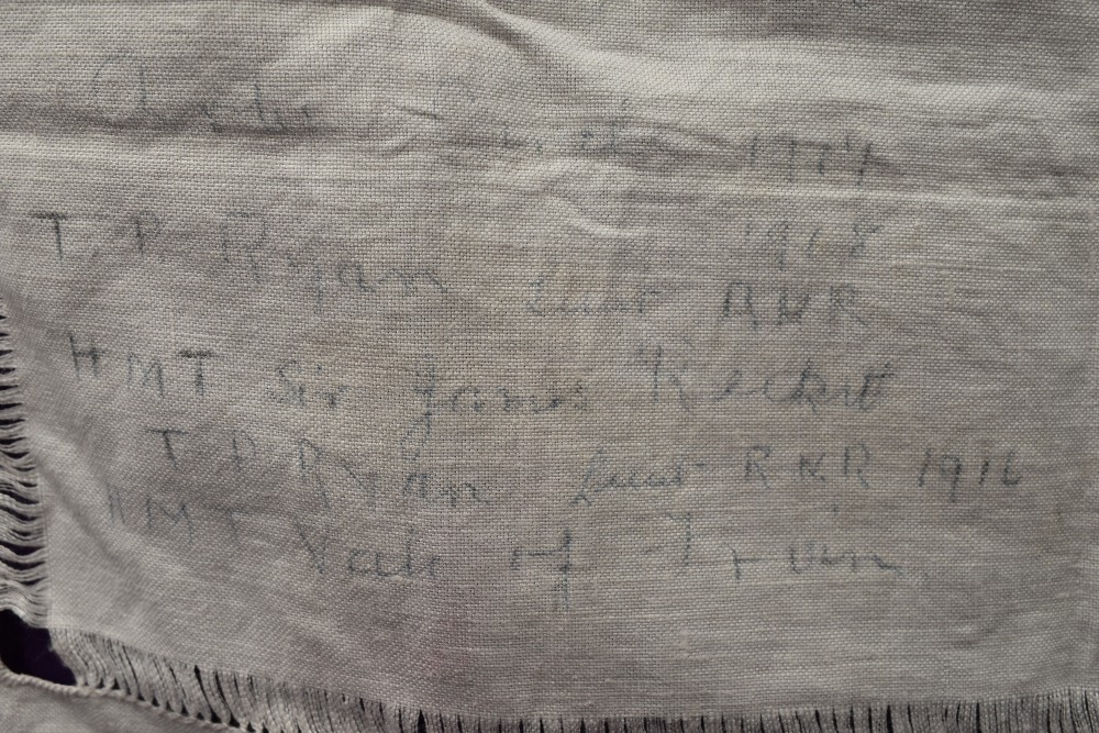 A wonderful piece of WW1 military history in the form of a table cloth, having embroidered and - Image 5 of 7
