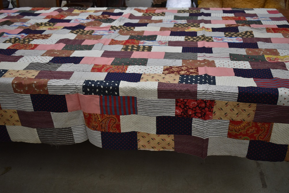 Two antique patch work quilts,both unfinished projects and are not padded or backed,brilliant bright - Image 7 of 9