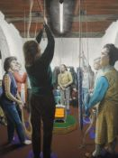 A large oil painting, Rosalind Cuthbert, Winscombe Bell Ringers, signed, and dated 1984 and