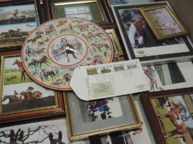 A selection of horse racing memorabilia, inc photographic prints, clock, first day covers, vintage