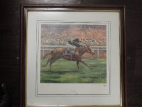 Two prints, after Claire Eva Burton, horse racing interest, Sonic Lady at Goodwood, 40 x 47cm, and