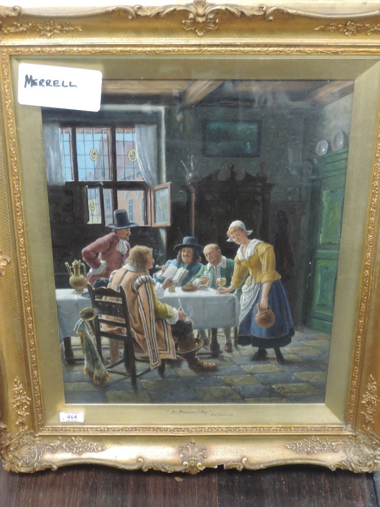 A pair of oil paintings, H C Devinck, An Amusing Story, and Solo Whist, tavern scences, each 49 x - Image 3 of 4