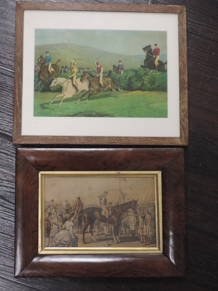 A set of four re-prints, steeple chase interest, 14 x 19cm, a similar print, framed and glazed, - Image 2 of 5