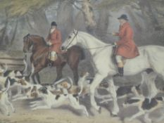 A pair prints, after R B Davis, hunting interest, 42 x 53cm, plus frame and glazed