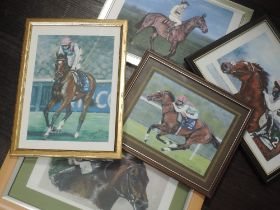 A variety of five prints, after L M Slater, horse racing interest, inc Arkle, 20 x 28cm, plus frame