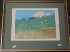 A gouache painting, Cows grazing Littledale Caton, attributed verso and dated 2019, 24 x 32cm,