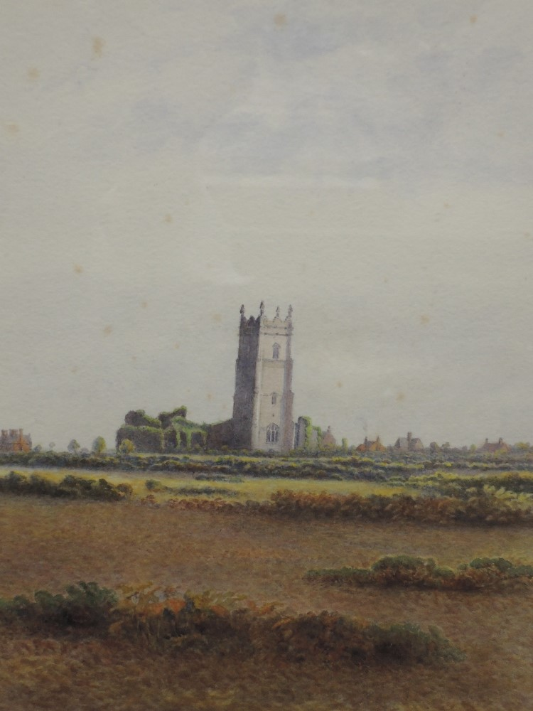 A watercolour, Ogilvy, rural church, signed and dated 1914, 28 x 22cm, plus frame and glazed