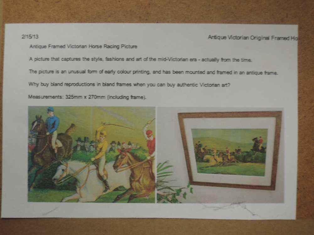 A set of four re-prints, steeple chase interest, 14 x 19cm, a similar print, framed and glazed, - Image 5 of 5