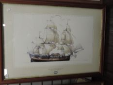 A print, after Ross Shardlow, H M Bark Endeavour, 50 x 80cm, plus frame and glazed