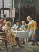 A pair of oil paintings, H C Devinck, An Amusing Story, and Solo Whist, tavern scences, each 49 x