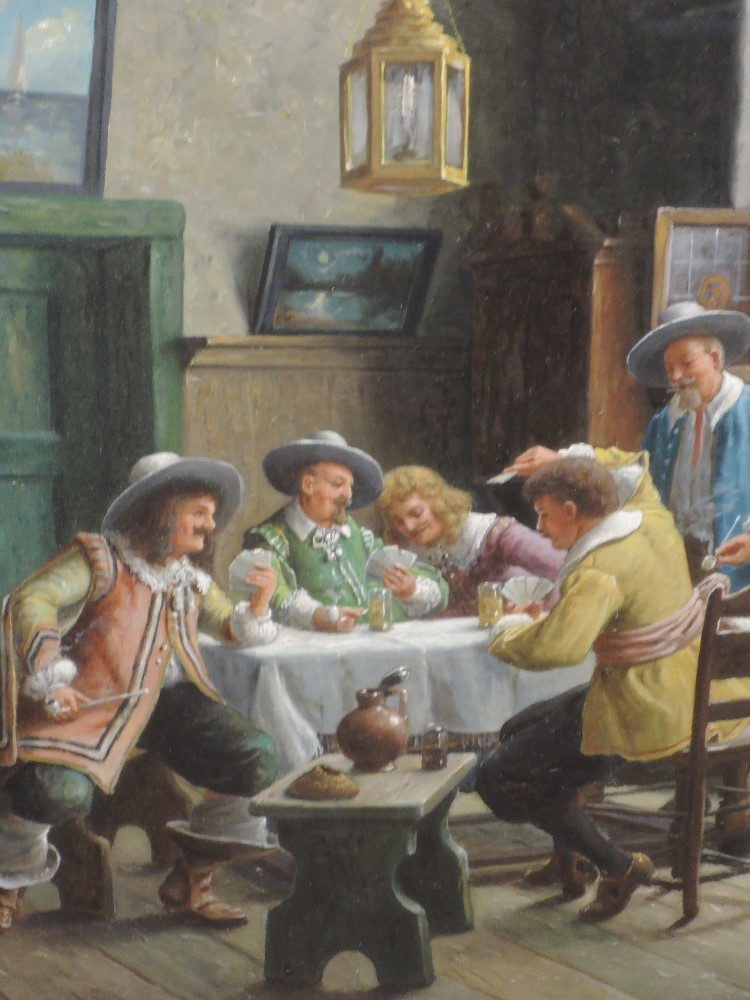 A pair of oil paintings, H C Devinck, An Amusing Story, and Solo Whist, tavern scences, each 49 x - Image 2 of 4