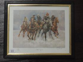 A Ltd Ed print, after Margaret Barrett, Sheer Grit, horse racing interest, signed and num 82/850, 27