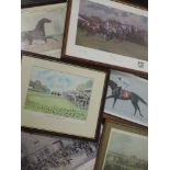 A variety of six prints, horse racing interest, inc, after Brunyee, Benny the Dip, signed 28 x 25cm,