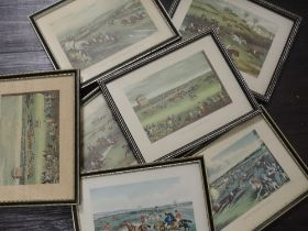 A set of seven re prints, horse racing interest, 16 x 20cm, plus frame and glazed