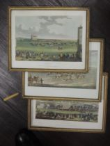 A set of three re-prints, horse racing interest, 18 x 24cm, plus frame and glazed
