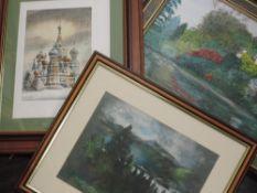 A selection of pictures, inc an oil painting, J Owen, river landscape, 29 x 39cm, plus frame