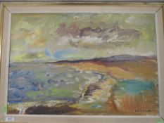 An oil painting on board, L A Calssen, impressionist coastal scene, signed, 44 x 64cm, plus frame