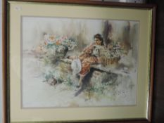 A print, after Sam King, lady reclining, 45 x 60cm, plus frame and glazed, and a similar print,