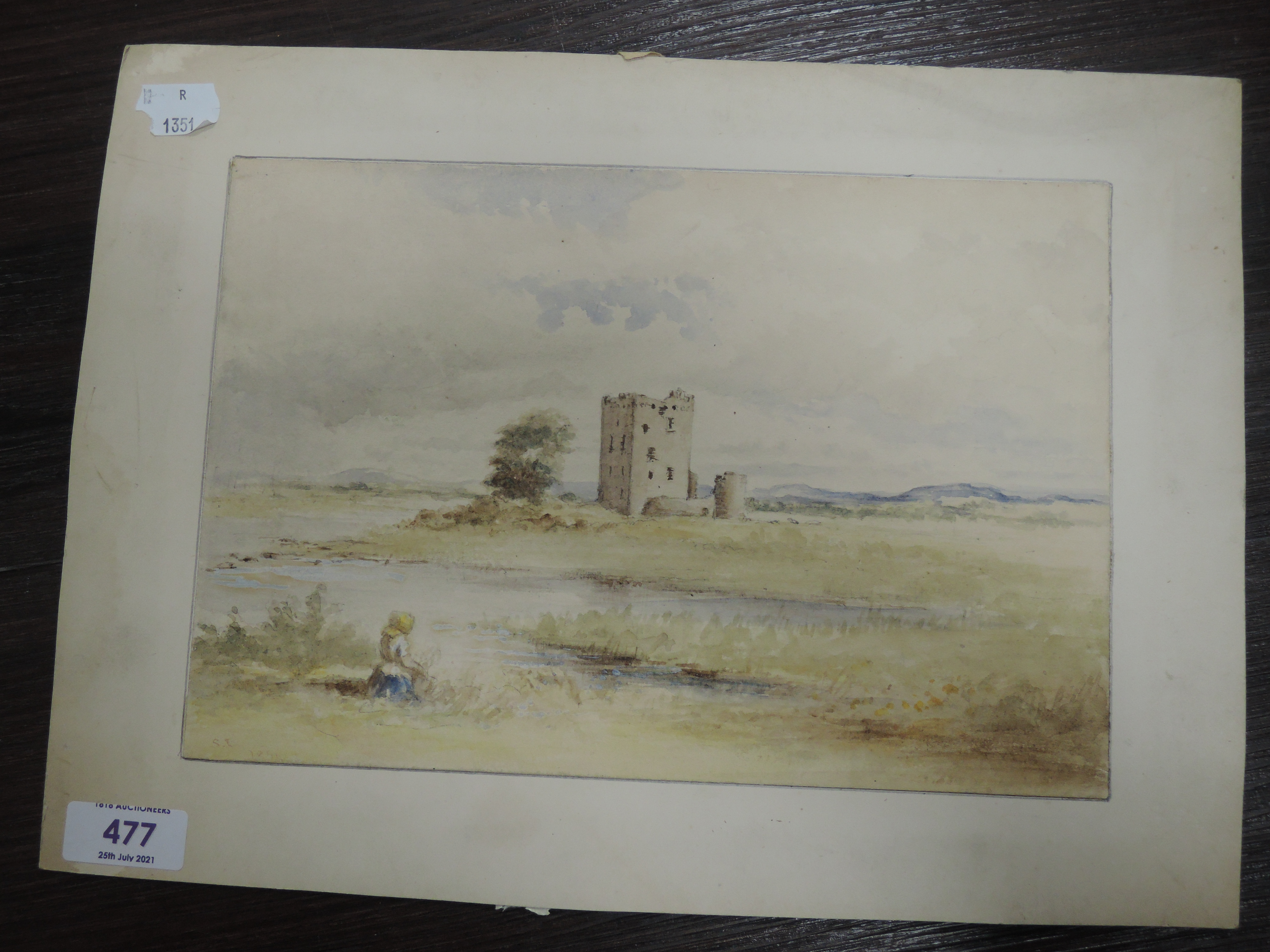 A watercolour, fortified manor/castle, 19th, 18 x 26cm, - Image 3 of 3