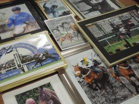 A selection of horse racing photographic ephemera, inc Ltd Ed signed, Frankie Dettori, num 297/1000,
