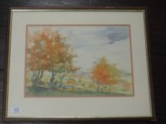 A watercolour, autumnal landscape, 24 x 33cm, plus frame and glazed