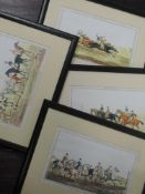 A set of four re-prints, horse racing interest, 18 x 28cm, plus frame and glazed