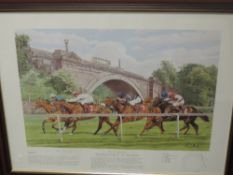 A print, after Paul Hart, Racecourses of Britain - Chester, signed, 44 x 55cm, plus frame and