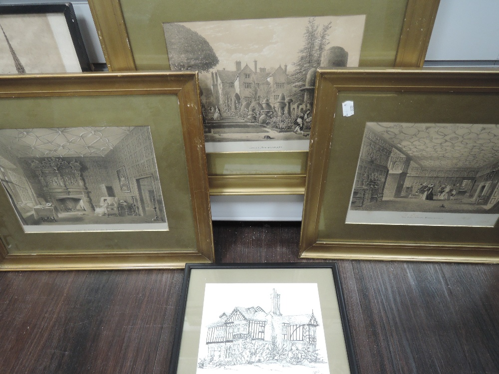 Three prints, Levens Hall, C19th, each 22 x 28cm, plus frame and glazed, a print, Bailrigg House - Image 2 of 2